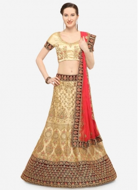 Cream and Maroon A Line Lehenga Choli