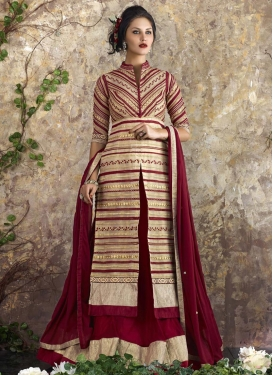 Cream and Maroon Art Silk Kameez Style Lehenga
