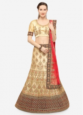 Cream and Maroon Booti Work A - Line Lehenga
