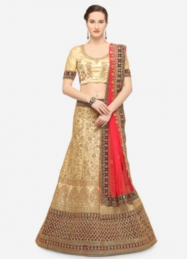 Cream and Maroon Designer A Line Lehenga Choli