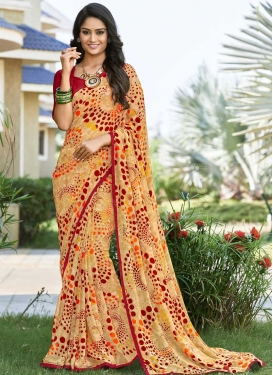 Cream and Maroon Digital Print Work Designer Contemporary Saree