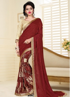 Cream and Maroon Digital Print Work Half N Half Saree
