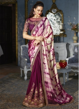 Cream and Maroon Digital Print Work Half N Half Trendy Saree
