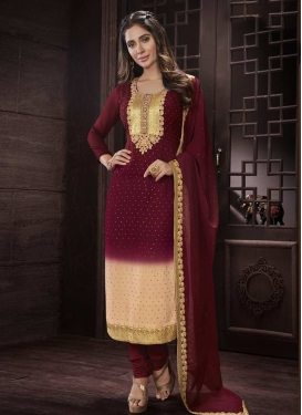Cream and Maroon Embroidered Work Faux Georgette Pakistani Straight Salwar Suit