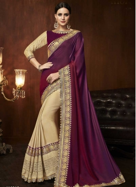 Cream and Maroon Half N Half Designer Saree For Festival