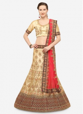 Cream and Maroon Lehenga Choli For Ceremonial
