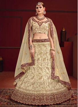 Cream and Maroon Satin Lehenga Choli For Bridal