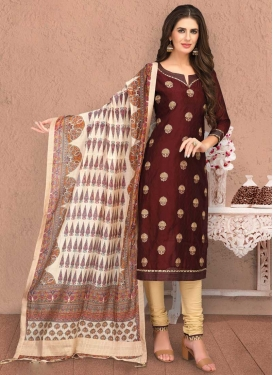 Cream and Maroon Trendy Churidar Salwar Suit