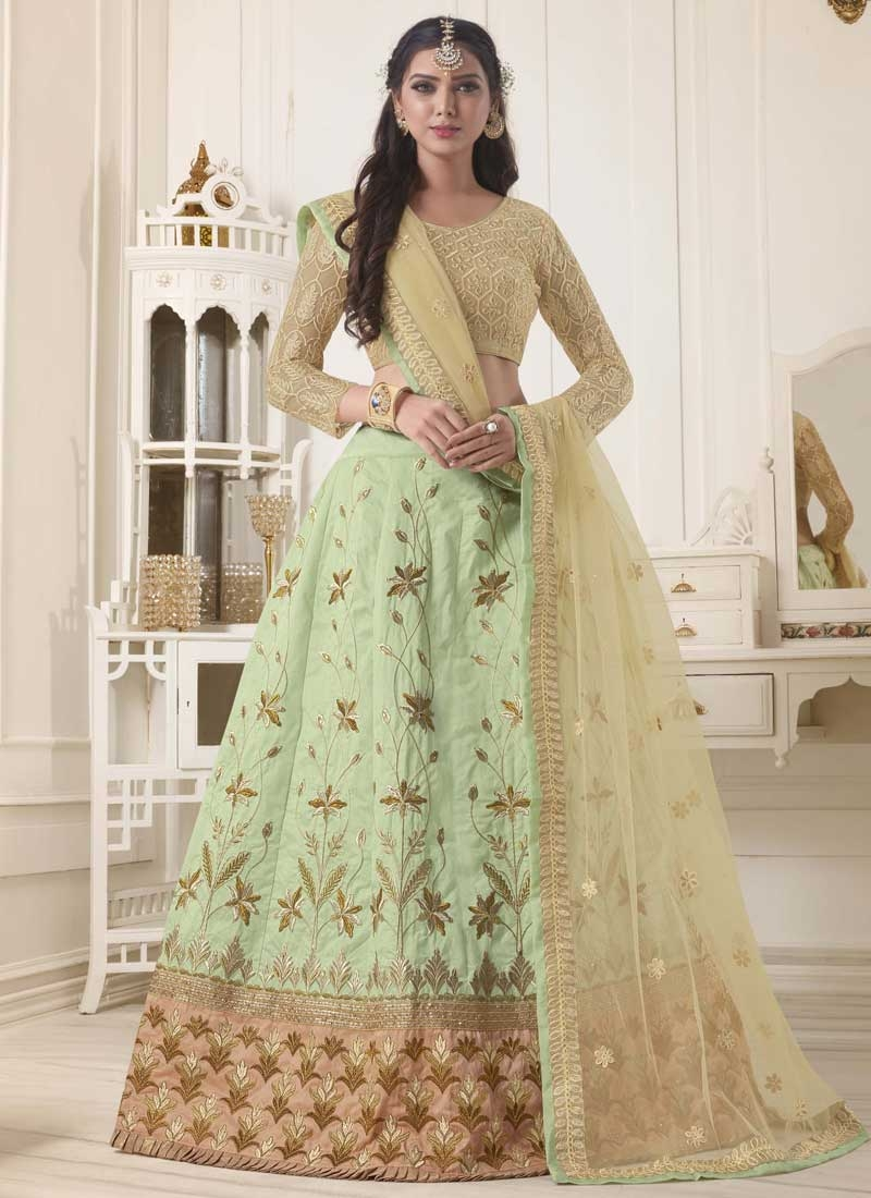 Cream and Mint Green Art Silk Trendy Lehenga Choli