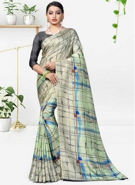 Cream and Mint Green Contemporary Style Saree