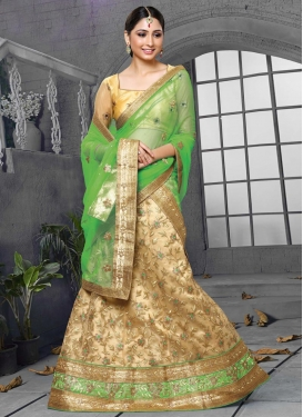 Cream and Mint Green Net A - Line Lehenga