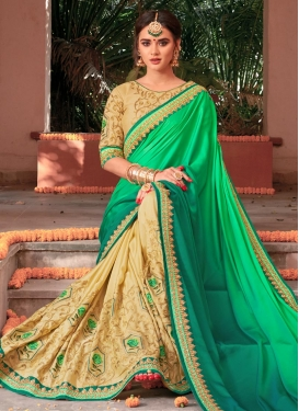 Cream and Mint Green Silk Georgette Half N Half Saree