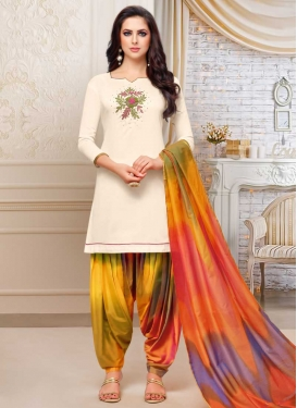 Cream and Multi Colour Semi Patiala Salwar Kameez