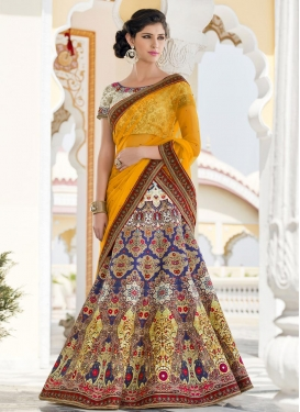 Cream and Mustard A - Line Lehenga For Festival