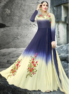 Cream and Navy Blue Art Silk Trendy Salwar Kameez