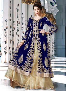 Cream and Navy Blue Booti Work Designer Kameez Style Lehenga Choli