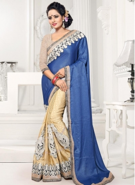 Cream and Navy Blue Chiffon Satin Half N Half Designer Saree
