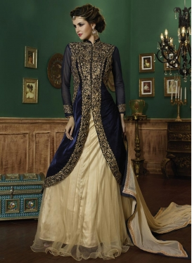 Cream and Navy Blue Embroidered Work Long Choli Lehenga