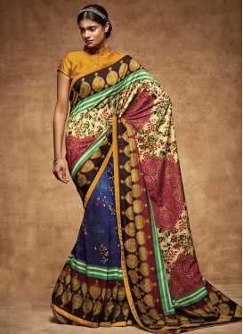 Cream and Navy Blue Half N Half Trendy Saree