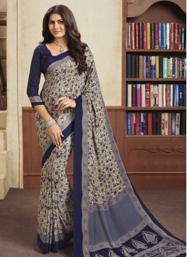 Cream and Navy Blue Print Work Trendy Classic Saree