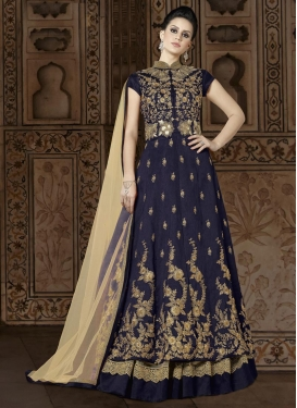 Cream and Navy Blue Silk Designer Kameez Style Lehenga Choli For Ceremonial