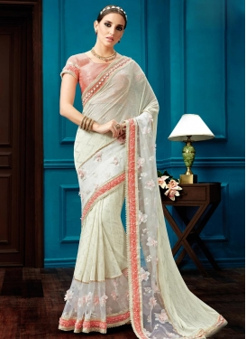 Cream and Off White Beads Work Trendy Designer Saree
