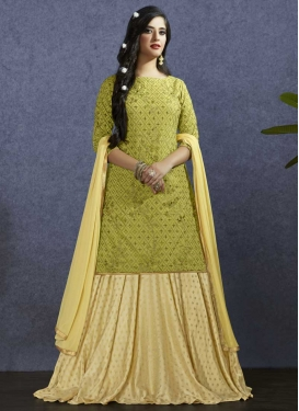 Cream and Olive Art Silk Designer Kameez Style Lehenga
