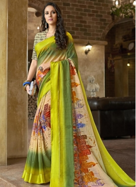 Cream and Olive  Chanderi Silk Classic Saree