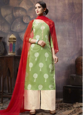 Cream and Olive Cotton Palazzo Style Pakistani Salwar Kameez