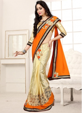 Cream and Orange Chiffon Satin Half N Half Saree