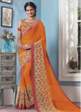 Cream and Orange Contemporary Style Saree