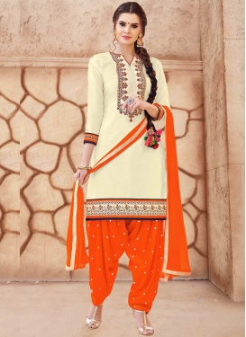 Cream and Orange Cotton Semi Patiala Salwar Kameez