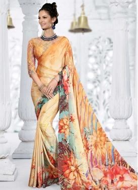 Cream and Orange Digital Print Work Designer Contemporary Saree