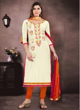 Cream and Orange Embroidered Work Trendy Salwar Kameez