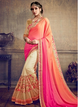 Cream and Orange Half N Half Saree