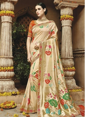 Cream and Orange Lace Work Trendy Classic Saree