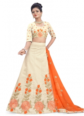 Cream and Orange Silk Trendy A Line Lehenga Choli