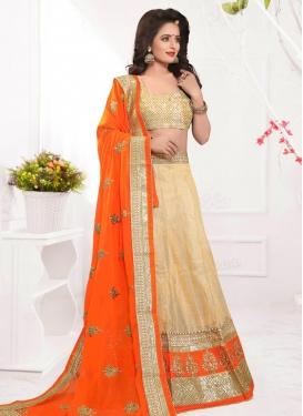Cream and Orange Silk Trendy A Line Lehenga Choli