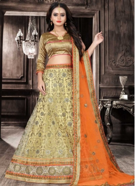 Cream and Orange Trendy A Line Lehenga Choli For Festival