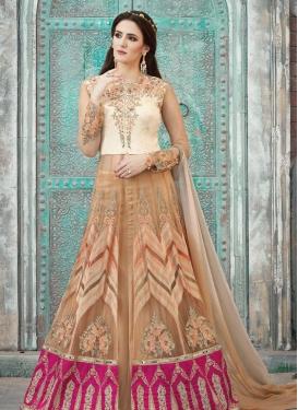 Aari Work Designer Kameez Style Lehenga