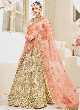 Cream and Peach Embroidered Work Trendy A Line Lehenga Choli
