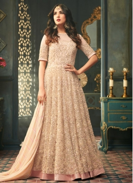 Cream and Peach Net Long Length Salwar Kameez