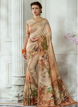 Cream and Peach Traditional Saree For Ceremonial