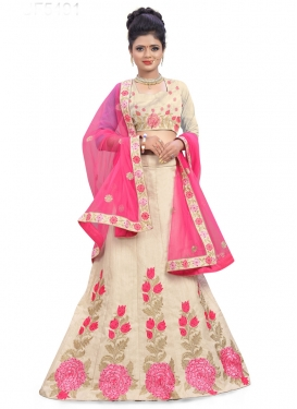 Cream and Pink Aari Work A Line Lehenga Choli