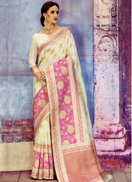 Cream and Pink Art Silk Traditional Saree