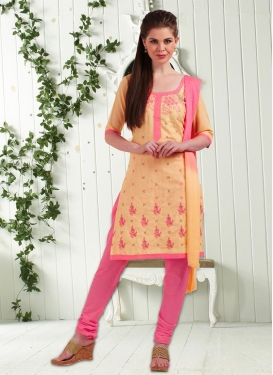 Cream and Pink Churidar Punjabi Salwar Kameez For Casual