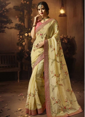 Cream and Pink Designer Contemporary Saree