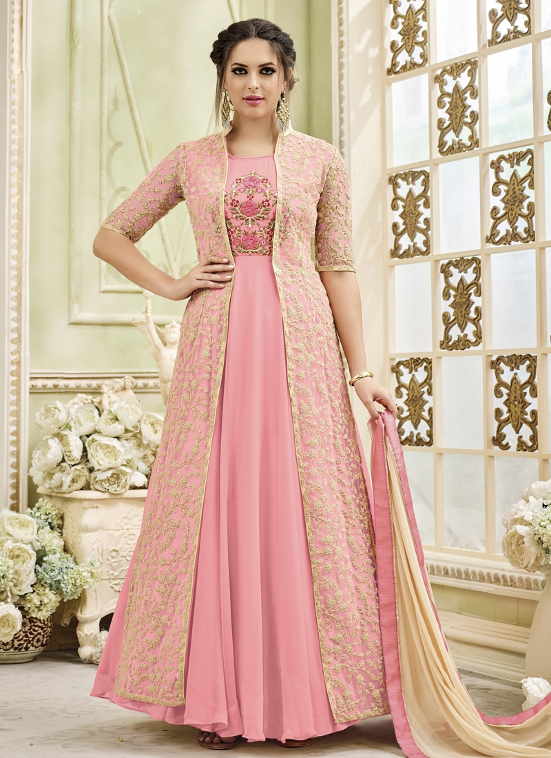 Cream and Pink Faux Georgette Jacket Style Salwar Kameez