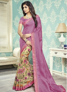 Cream and Pink Lace Work Half N Half Trendy Saree