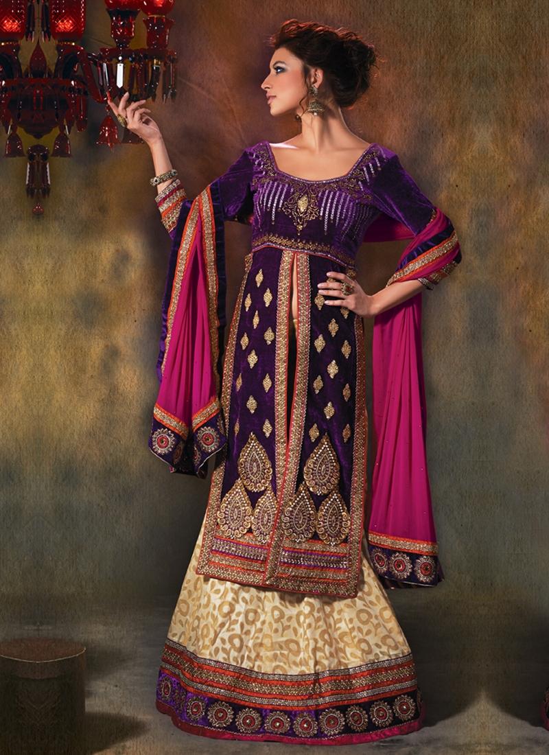 Cream And Purple Color Designer Lehenga Choli